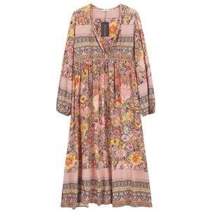 R.Vivimos Long Sleeve Floral Print Midi Dress